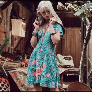 Spell & The Gypsy Babushka Mini Dress in Teal